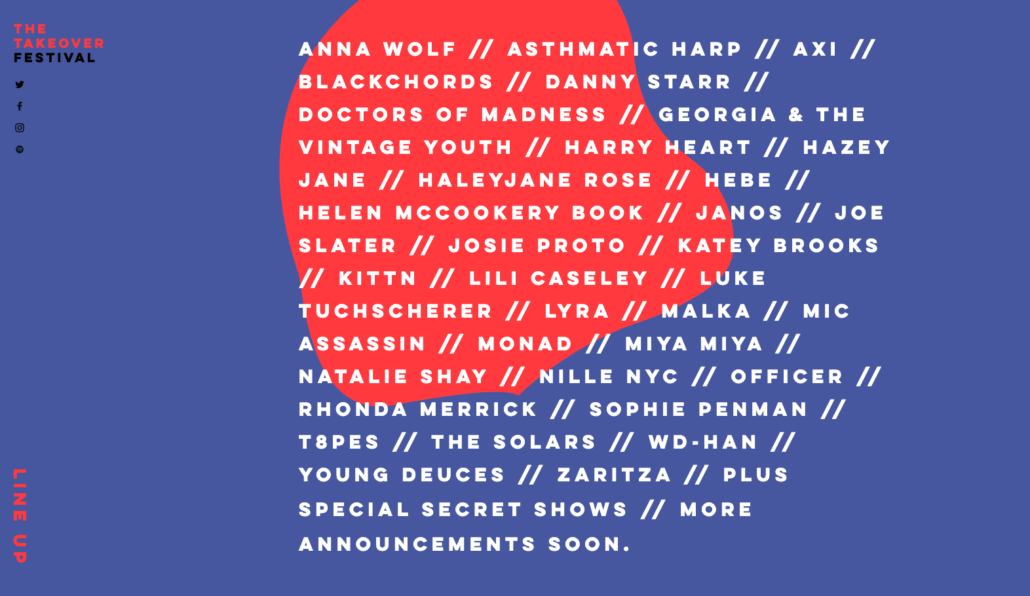 The 2020 lineup for The Takeover online Music Festival